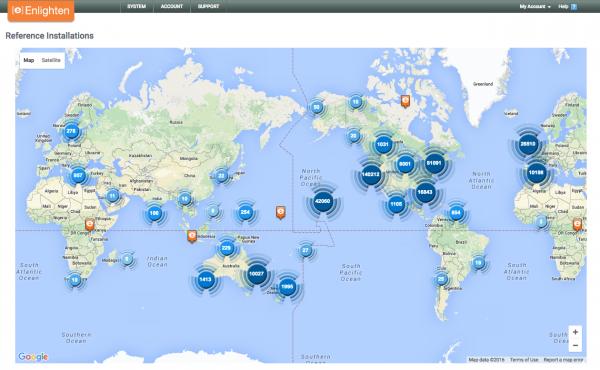 Enlighten World Map of Solar Installations