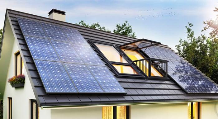 neat row of solar panels